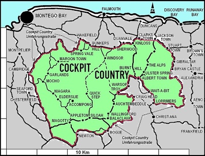 Jamaica Cockpit Country Map